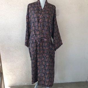Vintage Isaac Zelcer 100% Silk Lounge Robe O/S EUC